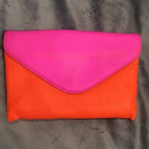 J. Crew neon envelope purse with gold chain